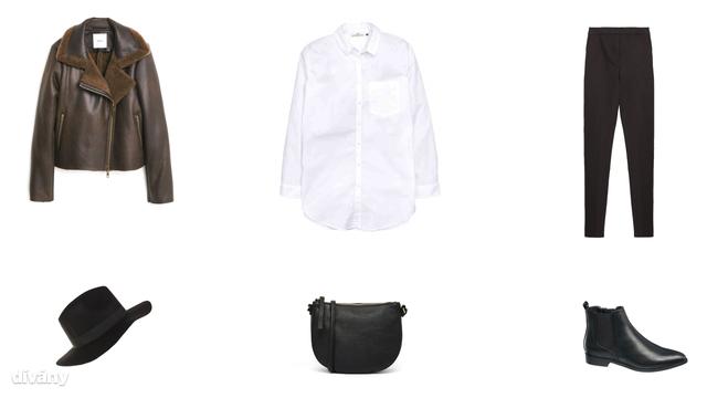 Kabát - 10995 Ft (Mango), ing - 5990 Ft (H&M), nadrág - 9995 Ft (Zara), kalap - 1995 Ft (Parfois), táska - 16 font (Monki/Asos), bokacsizma - 8990 Ft (Deichmann)