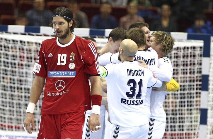 Nagy László a férfi kézilabda Európa-bajnokság D csoportjában játszott Oroszország - Magyarország mérkőzés végén Gdanskban az Ergo Arénában 2016. január 18-án.