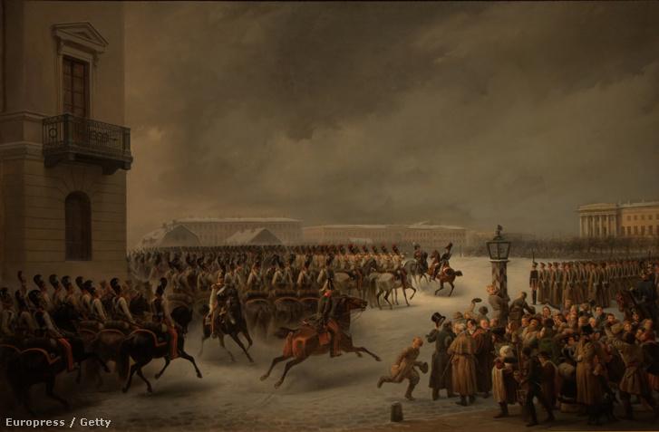 A dekábristák felkelése a Szenátus téren, Szentpéterváron 1825-ben