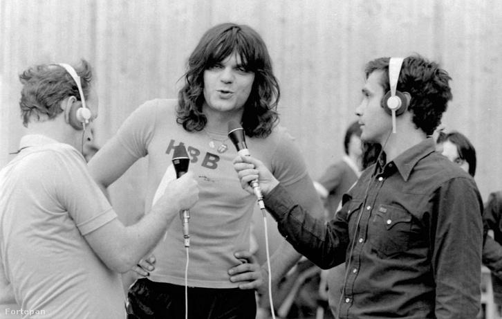Földes László (Hobo), balról Novotny Zoltán, jobbról Gyárfás Tamás riporterek, 1980