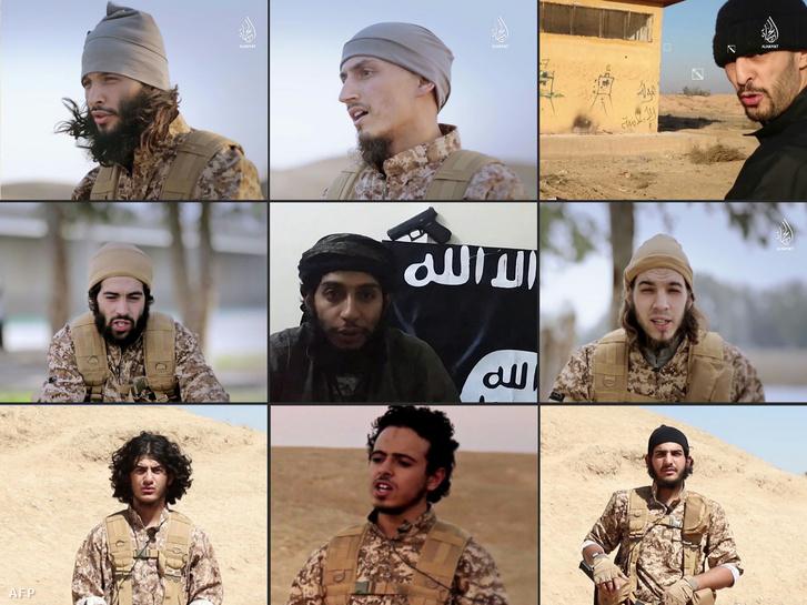 Arcok az iszlám állam legújabb videójából, ahol a párizsi terrortámadások egyik elkövetője is (alul középen) szerepel.