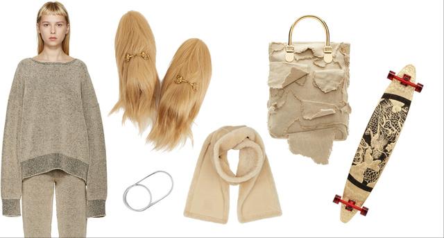 Balról jobbra, fentről le: Yeezy pulóver, Gucci cipő, Margiela gyűrű, Loewe vászontáska és irhasál, plusz egy 3 millió forintos longboard.