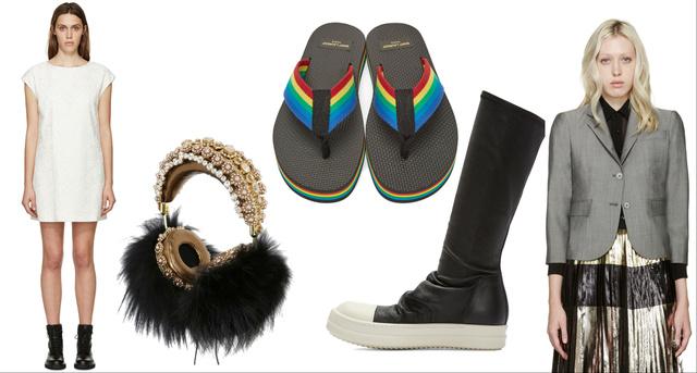 Balról jobbra: Saint Laurent csipkeruha, Dolce&Gabbana fejhallgató, Saint Laurent strandpapucs, Rick Owens lábbeli, Thom Browne blézer