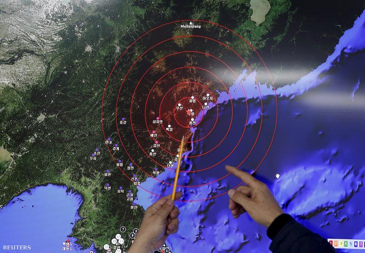 A legutóbbi északi kísérlet keltette rezgéseket mutatja a térképen egy Dél-koreai szakértő