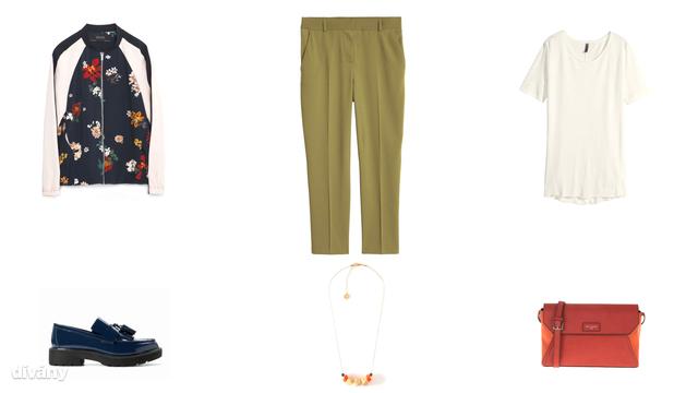 Dzseki - 14995 Ft (Zara), nadrág - 9990 Ft (H&M), póló - 3995 Ft (H&M), cipő - 8995 Ft (Mango), nyaklánc - 14,95 euró (Promod), táska - 7995 Ft (Parfois)