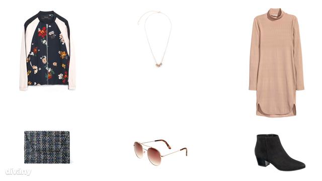 Dzseki - 14995 Ft (Zara), nyaklánc - 1495 Ft (Stradivarius), ruha - 9990 Ft (H&M), táska - 1795 Ft (Mango), napszemüveg - 5,99 font (New Look), bokacsizma - 8990 Ft (Deichmann)