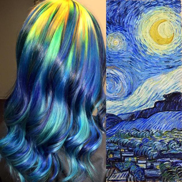 Így mutat Van Gogh Csillagos éj című festménye hajra átértelmezve.