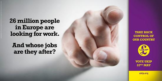 Az UKIP választási plakátja szerint 26 millióan lesnek az angolok munkahelyeire