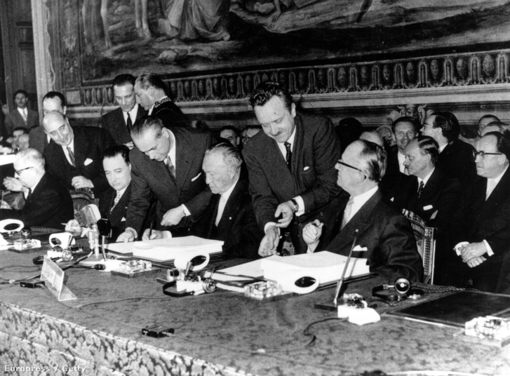 A Római Szerződés aláírása 1957-ben.