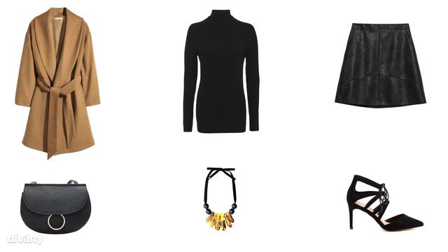 Kabát - 9890 Ft (H&M), pulóver - 3090 Ft (F&F), szoknya - 8995 Ft (Zara), táska - 3995 Ft (Stradivarius), nyaklánc - 6995 Ft (Mango), cipő - 32 font (Asos)