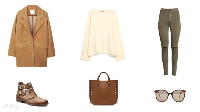 Kabát - 12995 Ft (Mango), pulóver - 5995 Ft (Zara), farmernadrág - 5990 Ft (H&M), bokacsizma - 20990 Ft (CCC), táska - 22995 Ft (Zara), napszemüveg - 10 font (Asos)