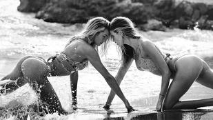 Vízcseppek takarják ki Candice Swanepoel kerek fenekét