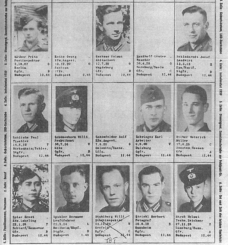 A Német Vöröskereszt eltűntekről szóló kimutatásának egy részlete. A cikkben név szerint szerepelnek: felső sorban a második név: a 24 éves Georg Rothe február 14-én hajnalban tűnt el. Középső sorban a negyedik: a 35 éves Karl Schwinges tizedes február 14-én hajnali 3 órakor tűnt el. Alsó sorban a második: a 31 éves Hermann Spuhler február 14-én hajnalban tűnt el.