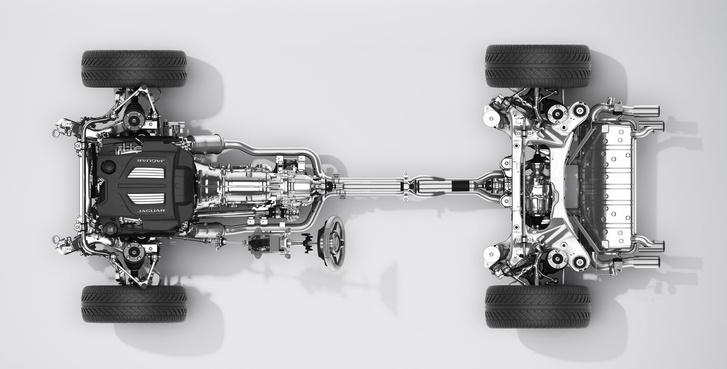 Az F-Type összkerékhajtási rendszere: a váltó mellett látszik a kardán, ami az első tengelyt hajtja