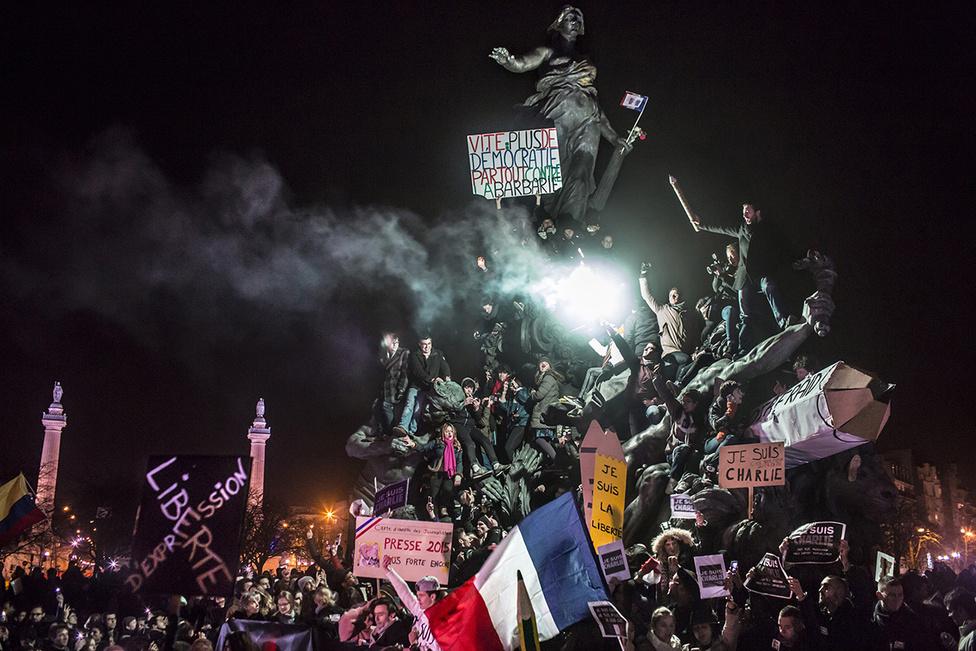 Rendkívüli hírek 2. hely Párizsi szimpátiatüntetés a januári Charlie Hebdo elleni merényletsorozat után.