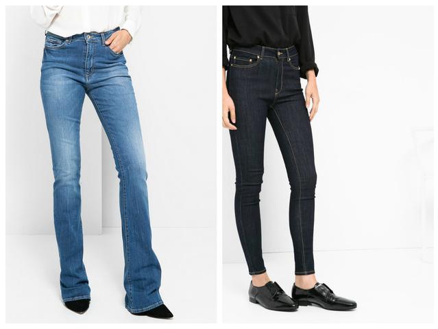 Balra az a típusú nadrág, amit a koptatások és a fazon miatt kerülnie kell. Jobb oldalon egy magasderekú, lábkövető darab látható - utóbbit jó szívvel ajánljuk. Mindkettő MangoOutlet egyébként, előbbi 4995, utóbbi 3995 forintba kerül.
