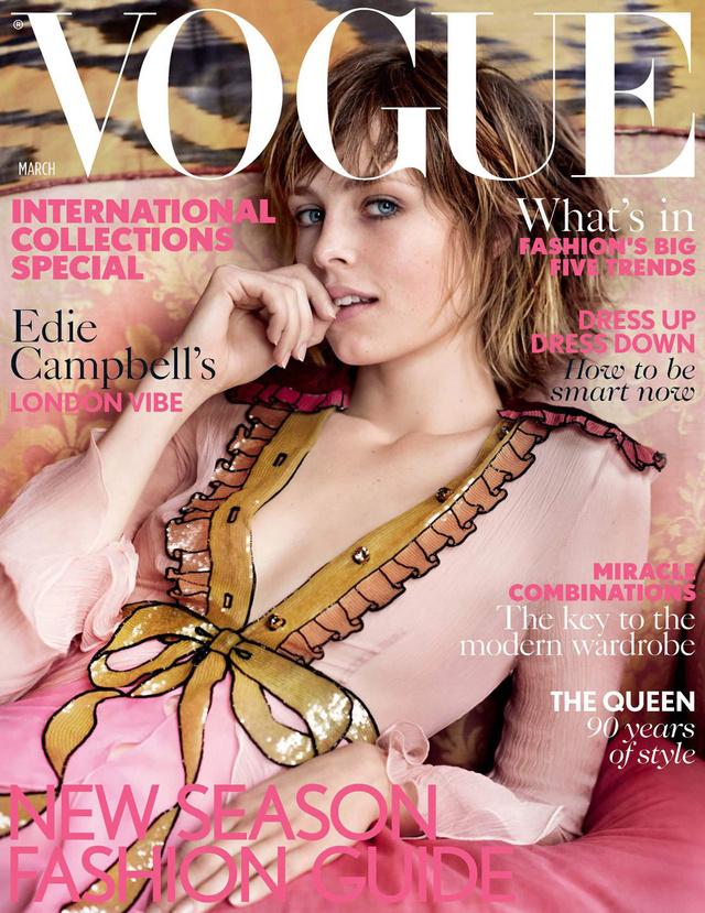 Nagy kedvencünk ez a pink színű Gucci ruha, amiben Edie Campbell pózol a Vogue címlapján.