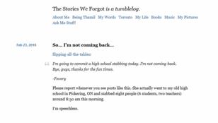 Megírta a blogján, hogy elmegy lemészárolni az osztálytársait, és tényleg