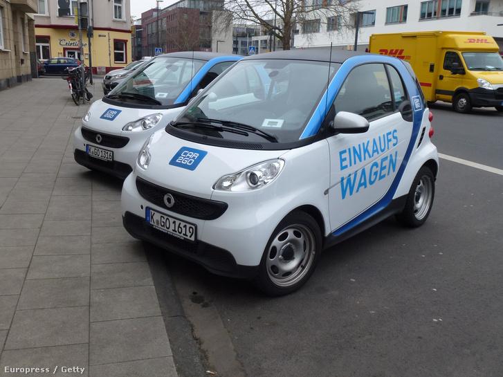 Kölcsönözhető Car2Go elektromos autók Németországban.