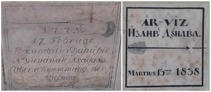 A XVIII. század második felében latin-magyar-német, míg a XIX. század első felében szerb-magyar felirattal emlékeztették az utókort a tabáni árvízkori Duna-tetőzésére.