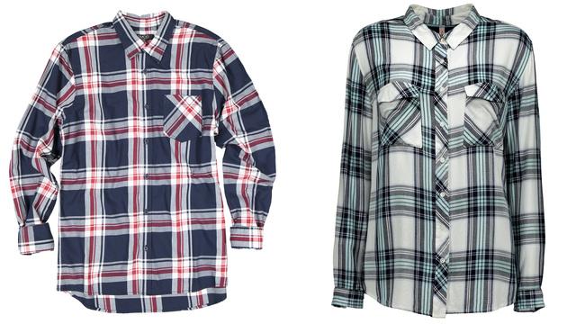 Kockás inget is vehetünk a New Yorkerben, a férfiak a pirossal csíkozott ingért 5990 forintot, a nők a zöldes blúzért 5290 forintot fizetnek.