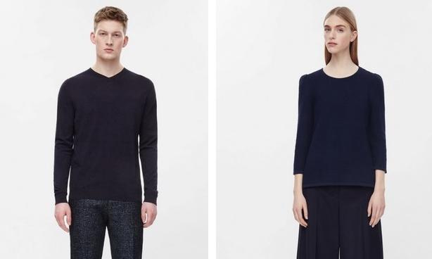 COS: a vékony, férfi kötött pamut-selyem pulóver 79 euro, ezért 58% selymet és 42% pamutot kap a delikvens. A női verzió 100% pamut, de csak 55 euróba kerül.