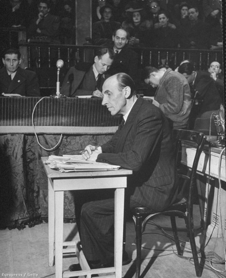 Imrédy Béla 1946 februárjában a bírósági tárgyalásán.
