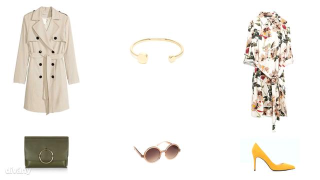 Kabát - 14990 FT (H&M), karkötő - 12 font (Asos), ruha - 14995 Ft (Zara), táska - 22 font (Topshop), napszemüveg - 3290 Ft (Parfois), cipő - 9995 Ft (Mango)