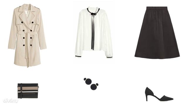 Kabát - 14990 Ft (H&M), blúz - 8990 Ft (H&M), szoknya - 9995 Ft (Zara), táska - 8995 Ft (Parfois), fülbevaló - 6,50 font (Topshop), cipő - 9995 Ft (Mango)