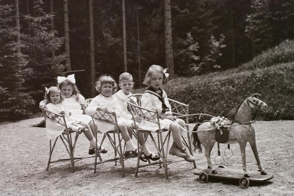 Egyedi készítésű hintaló kengyellel egy korát évtizedekkel megelőző korai gördeszka-szerűségen, a mozdulni nem képes fogaton a Zichy család gyermekei. A kívülről kivételezettnek tetsző helyzet a háború után visszájára fordult, az itthonmaradottak közül többen börtönbe, a fenti képen üldögélő kisfiú pedig az ötvenes években kényszermunkatáborba került - pusztán a nevük miatt.