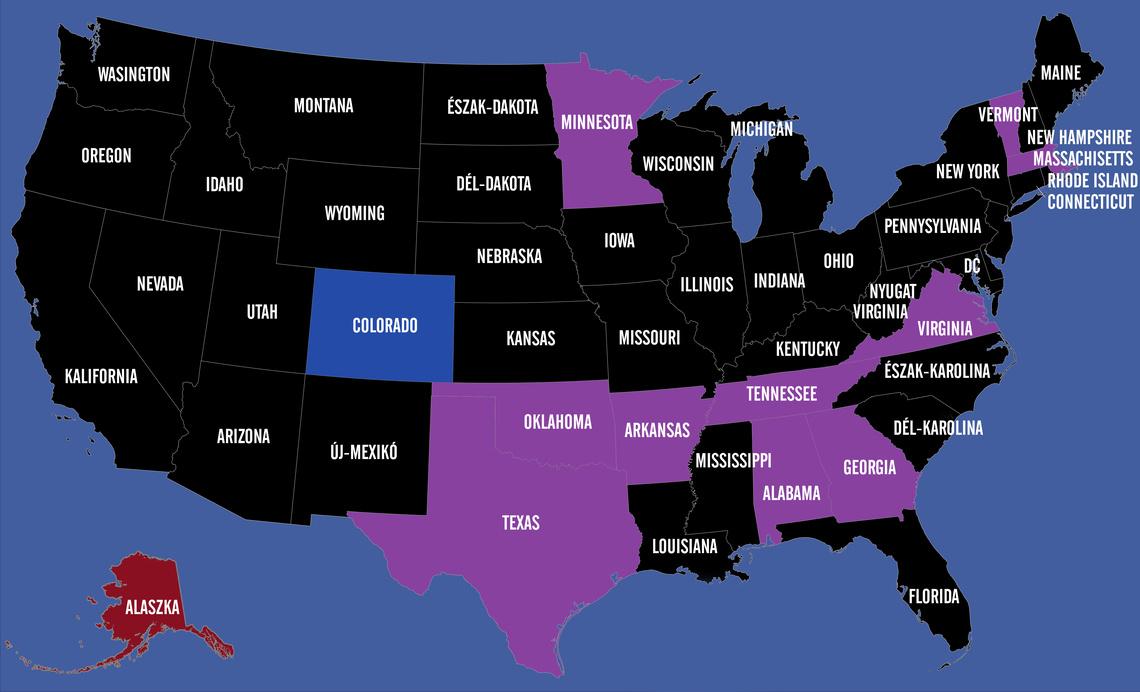 A lilával jelölt államokban tartanak most szavazást, a kékkel jelölt államban csak a demokraták, a pirosban csak a republikánusok.