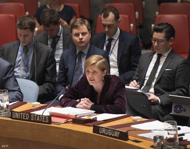 Samantha Power amerikai ENSZ-nagykövet az ENSZ Biztonsági Tanácsának ülésén