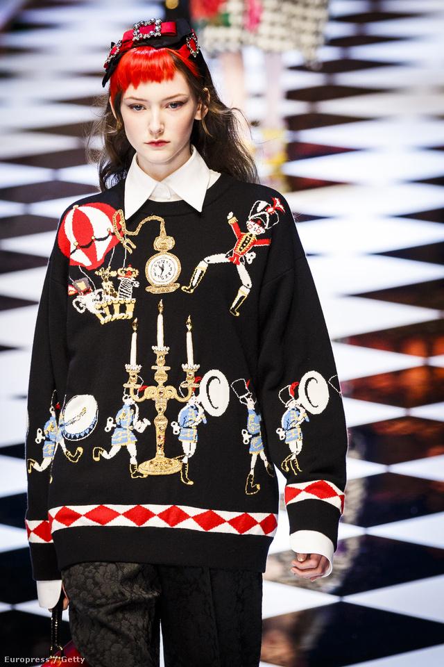Piros frufru és gyertyatartós pulóver a Dolce & Gabbana kifutóján.
