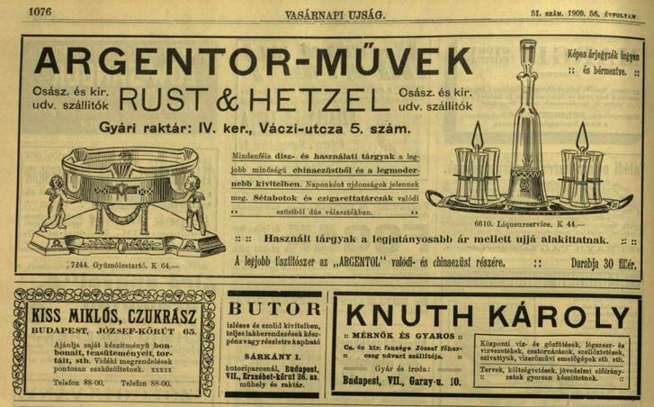 Hirdetések egy 1909-es Vasárnapi Újságban. Köztük Kiss Miklós czukrászé is