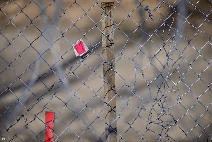 Megrongált ideiglenes mûszaki határzár a magyar-szerb határ szerbiai határon, Hajdújárás közelében 2016. február 22-én