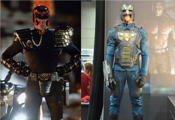 Bal oldalon Stallone ruhája az 1995-ös Dredd bíróban, jobb oldalon pedig egy Nova Corps-egyenruha A galaxis őrzői-filmből.