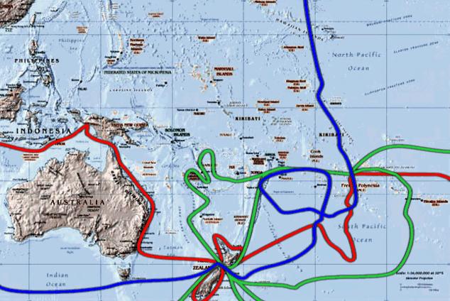 James Cook kapitány útjai a Csendes-óceán déli részén. Az első út pirossal, a második út zölddel, a harmadik út kékkel van jelölve