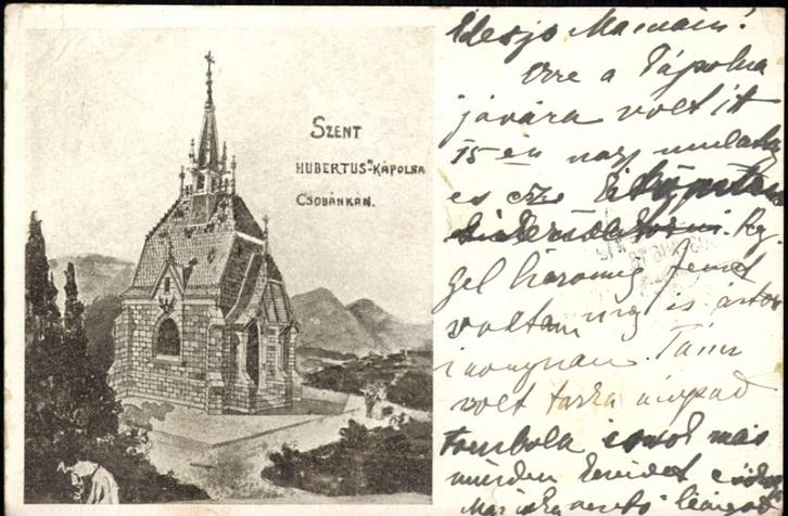 A kápolna látványterve egy 1903-as képeslapon. A levélíró épp egy olyan bálról mesél, ahol az építésre gyűjtöttek adományokat