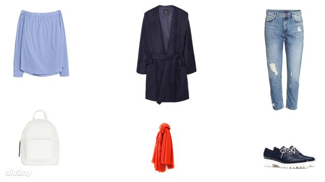 Blúz - 9995 Ft (Zara), kabát - 27995 Ft (Mango), nadrág - 8990 Ft (H&M), hátizsák - 15,99 font (New Look), sál - 14,95 euró (Promod), cipő - 9995 Ft (Stradivarius)