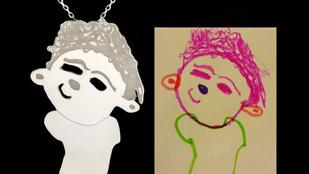 Nyakában hordhatja gyermeke rajzát