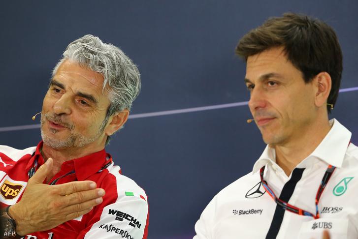Maurizio Arrivabene Ferrari-csapatfőnök és Toto Wolff