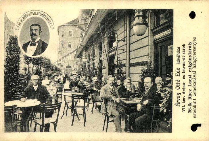 Árvai Ottó Ede kávéházának hirdetése 36. Rácz Laci cigánykirállyal