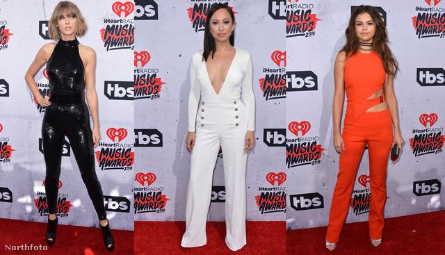 Taylor Swift rengeteg díjat nyert, mellette Cheryl Burke áll fehér overálban, jobb szélen pedig Selena Gomez pózol. Jöjjenek külön-külön is!