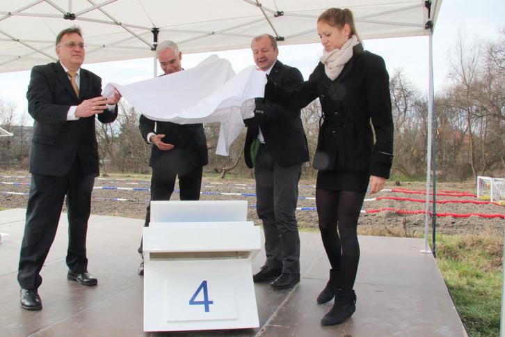 Vécsey László, Balog Zoltán, Simicskó István és Kapás Boglárka a 2014-es kampánybejelentésen