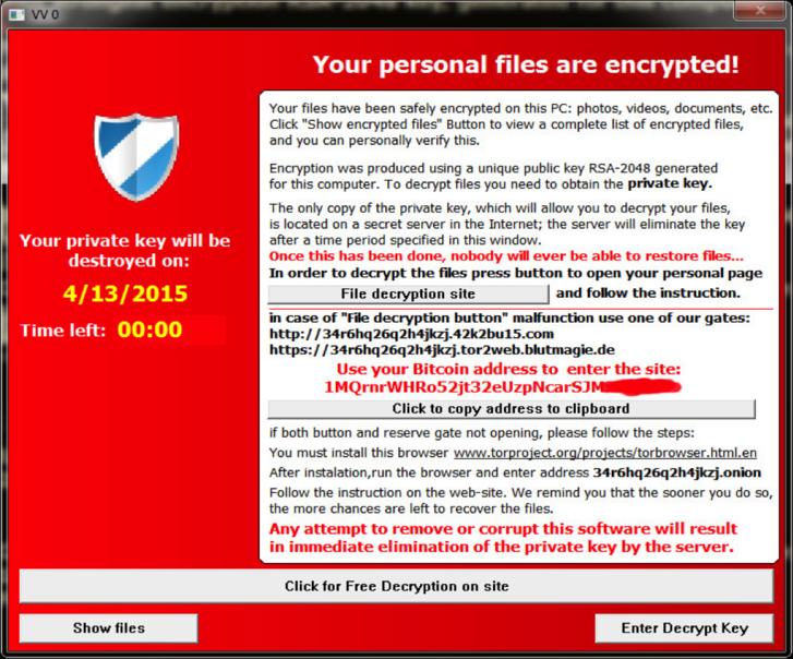A TeslaCrypt üzenete a felhasználónak.