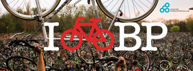 Az I Bike Budapest logója és a már jól ismert bringaemelés