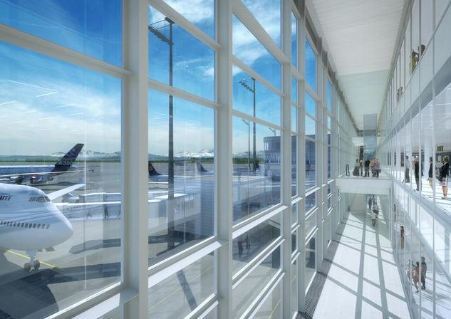 A hőszigetelésre kialakított négy és fél méter széles légüres tér a terminál üvegburkolata mögött