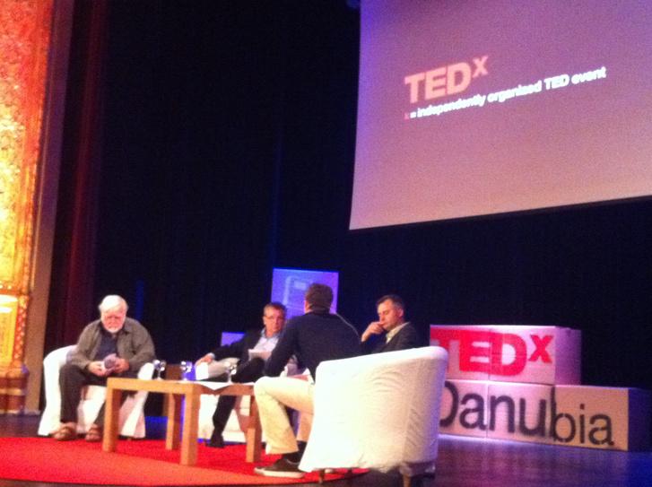 Csíkszentmihályi Mihály, Matolcsy György és Mányai a TEDxDanubia színpadán