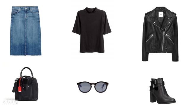 Szoknya - 9995 Ft (Zara), felső - 1990 Ft (H&M), bőrdzseki - 37995 Ft (Mango), táska - 10490 Ft (Reserved), napszemüveg - 9995 Ft (Oysho), bokacsizma - 9790 Ft (CCC)