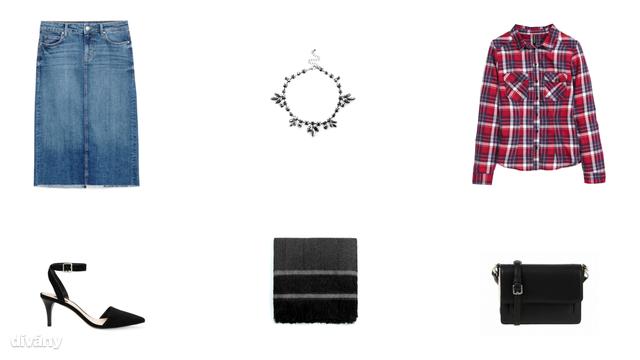 Szoknya - 9995 Ft (Zara), nyaklánc - 12 font (Asos), ing - 5990 Ft (H&M), cipő - 7995 Ft (Mango), sál - 5995 Ft (Mango), táska - 8995 Ft (Parfois)